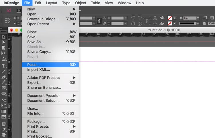 Import an Excel file into InDesign: click on Place...