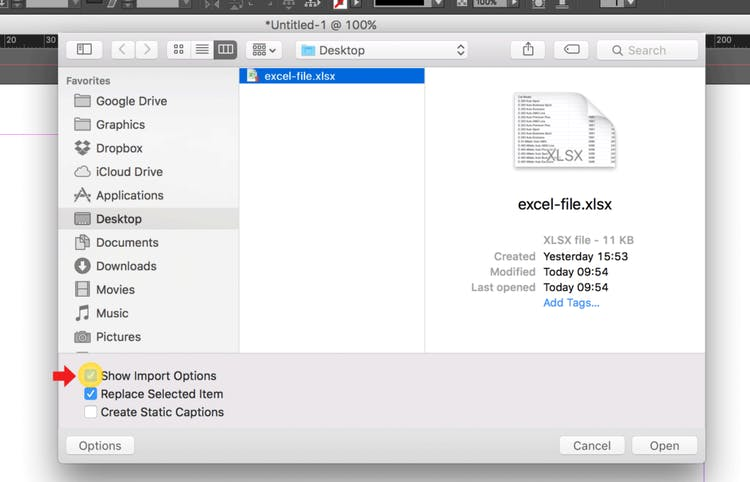 Import an Excel file into InDesign: Check Show Import Options