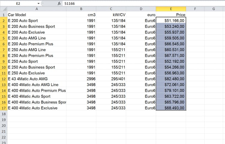 Import an Excel file into InDesign: table in $