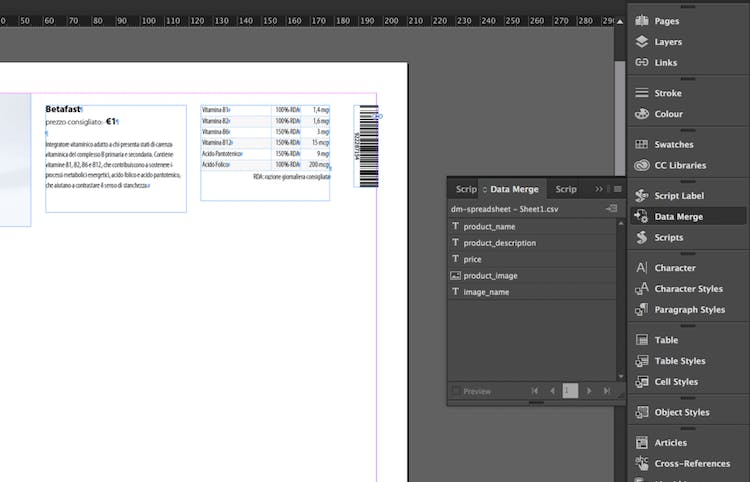 """The InDesign Data Merge feature creates the """"variables"""""""