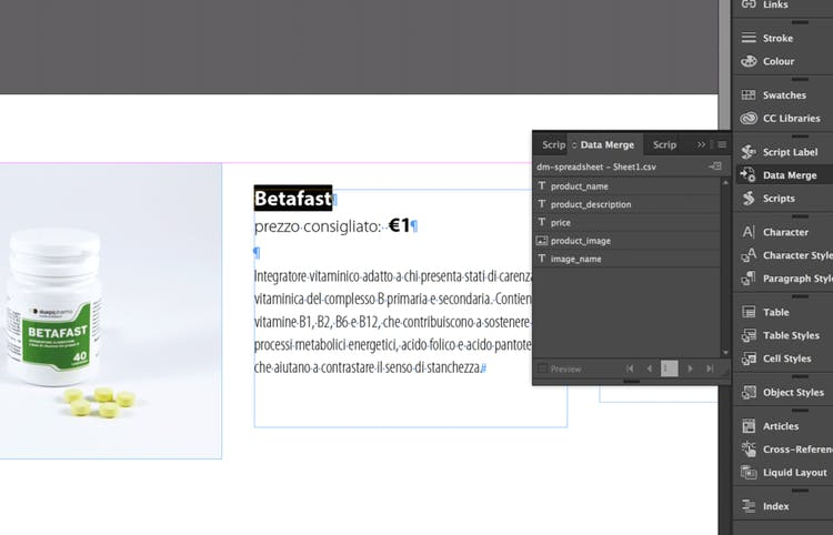 Select the text or image in InDesign