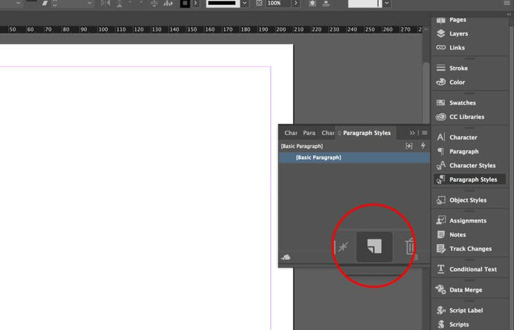 Create new paragraph style in InDesign