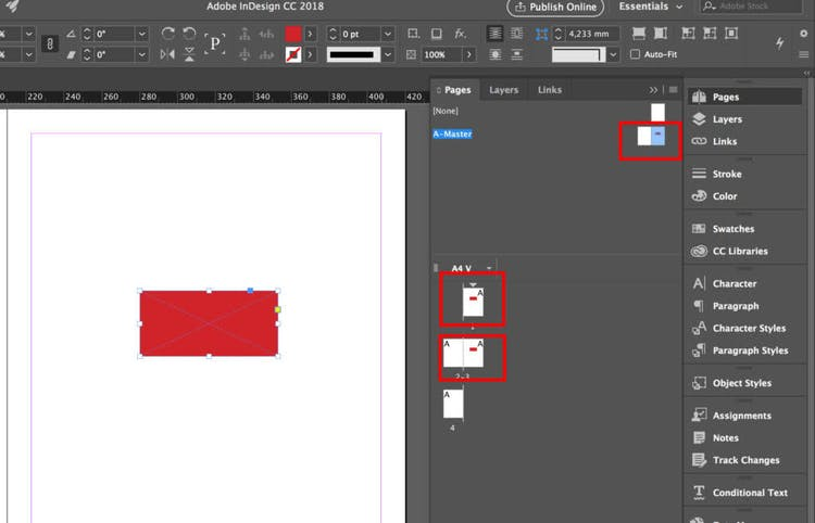 Element placed in the default InDesign master page A