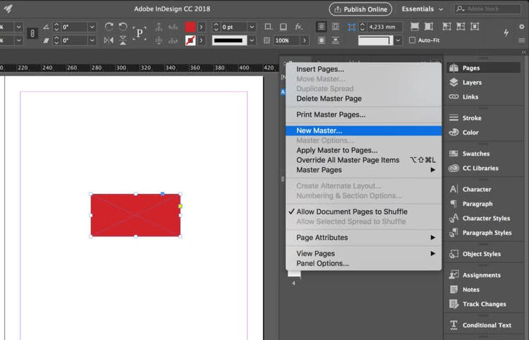 Create a new InDesign master page