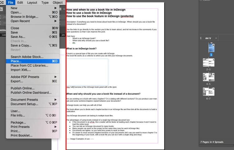 The entire document is created and pages are added