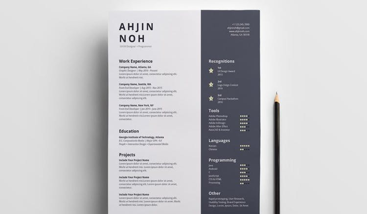 Minimal Free InDesign Resume Template