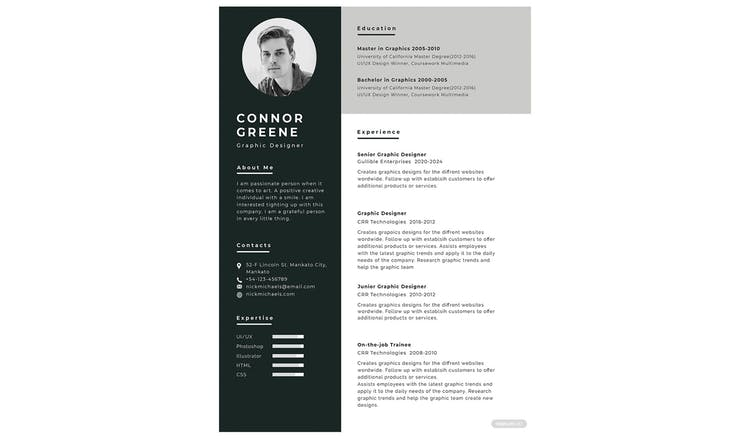 All the shades of grey resume template
