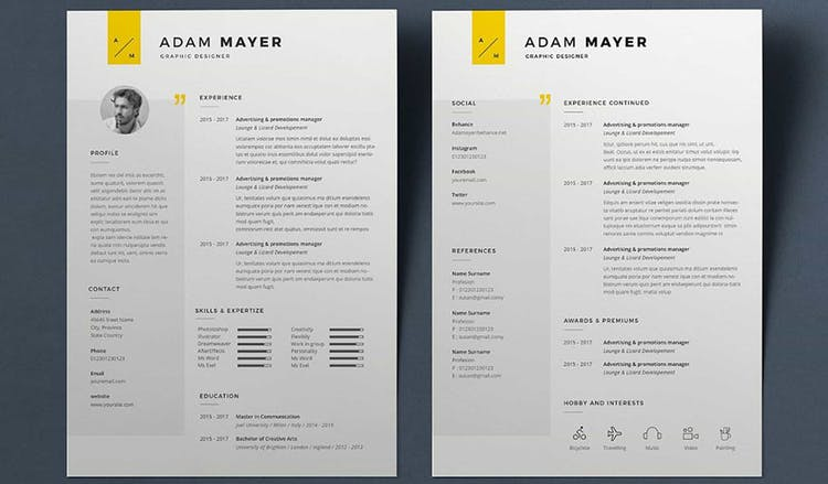 Basic Resume with yellow hues