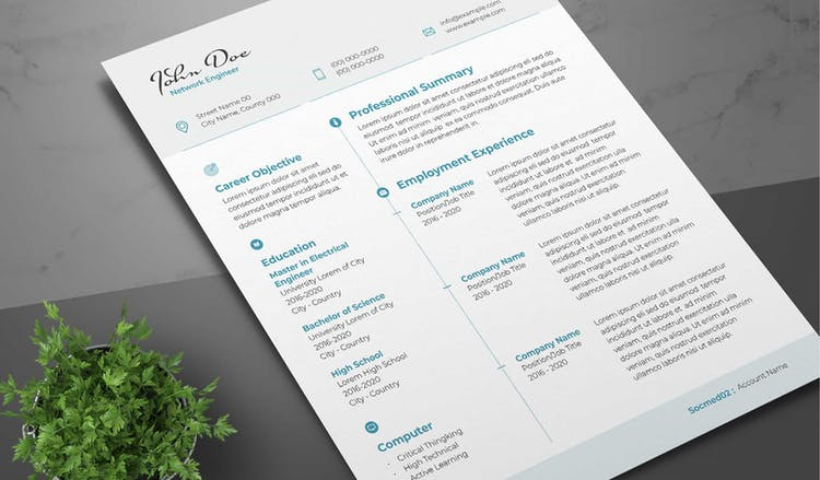 Resume Layout with Teal Accents