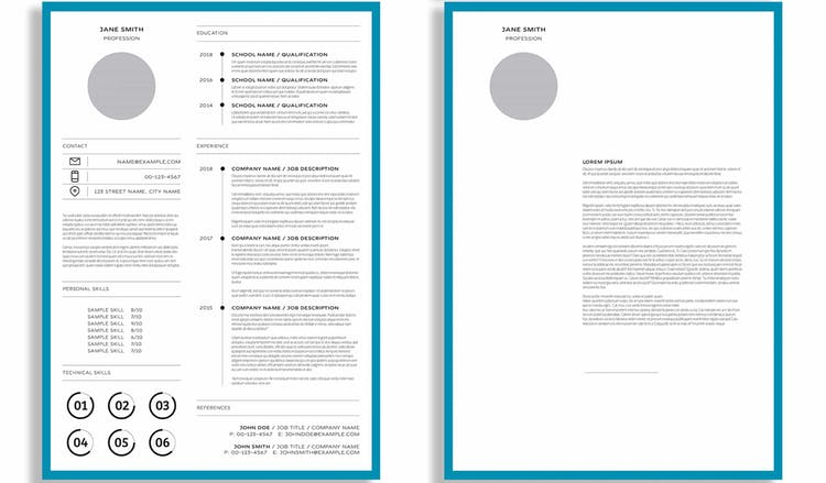 Resume Layout with Blue Border