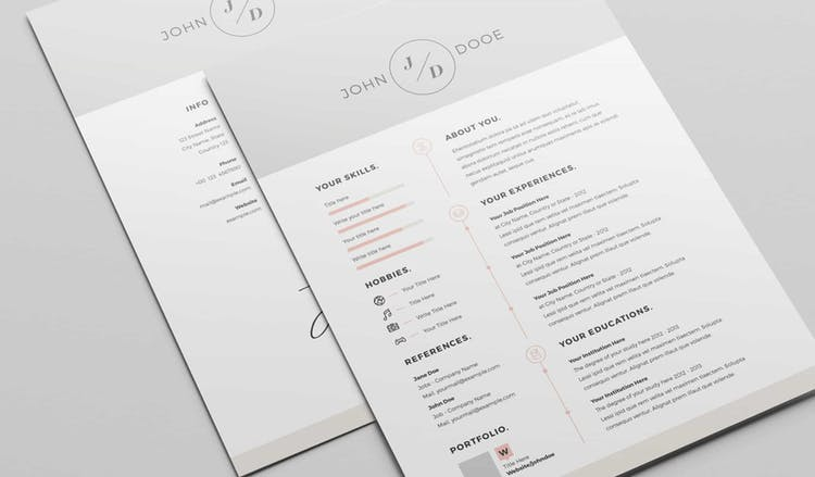 Resume Layout Set with Grey Header and Footer