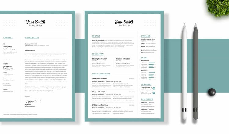 Resume with Turquoise Border