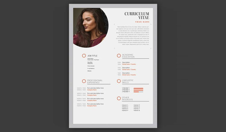Resume Layout with Grey and Orange Accents